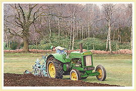 Green Warrior - A Vintage John Deere model AR  classic Farming Picture - click for details